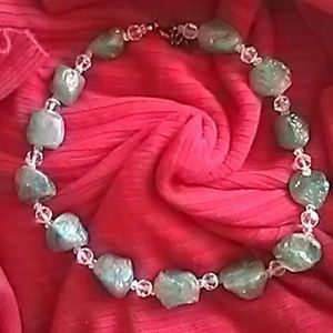 """Jewelry - Gray & Clear Beaded Necklace 23"""""""